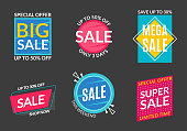 Sale label set. Discount badges or stickers. Price off banner collection. Special offer and promotion coupon design element. Super and Mega sale advertising. Vector illustration.