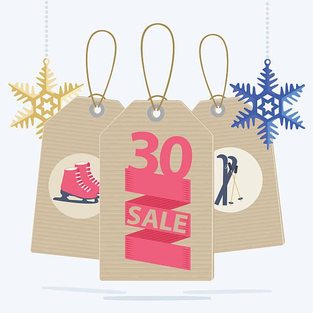 illustrazioni stock, clip art, cartoni animati e icone di tendenza di vendita etichette di natale vendita sport - negozio sci