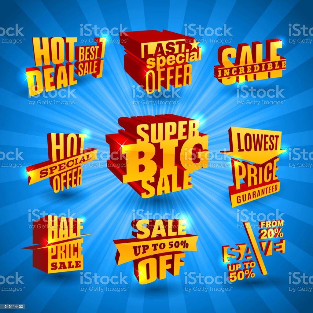 Sale labels set vector art illustration