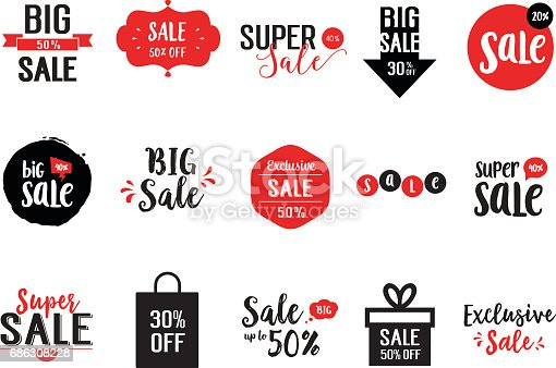 Collection of sale letterings with red and black elements. Handwritten text, calligraphy. Can be used for posters, leaflets and brochure