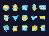 Set of Sale letterings in Cadre. Sale quotes in yellow and blue borders. Handwritten text, calligraphy. Can be used for posters, leaflets and brochure