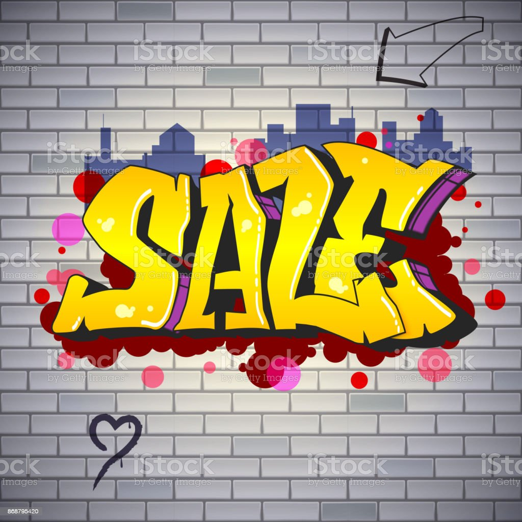 Sale Lettering In Hiphop Graffiti Style Street Art On The Brick Wall ...