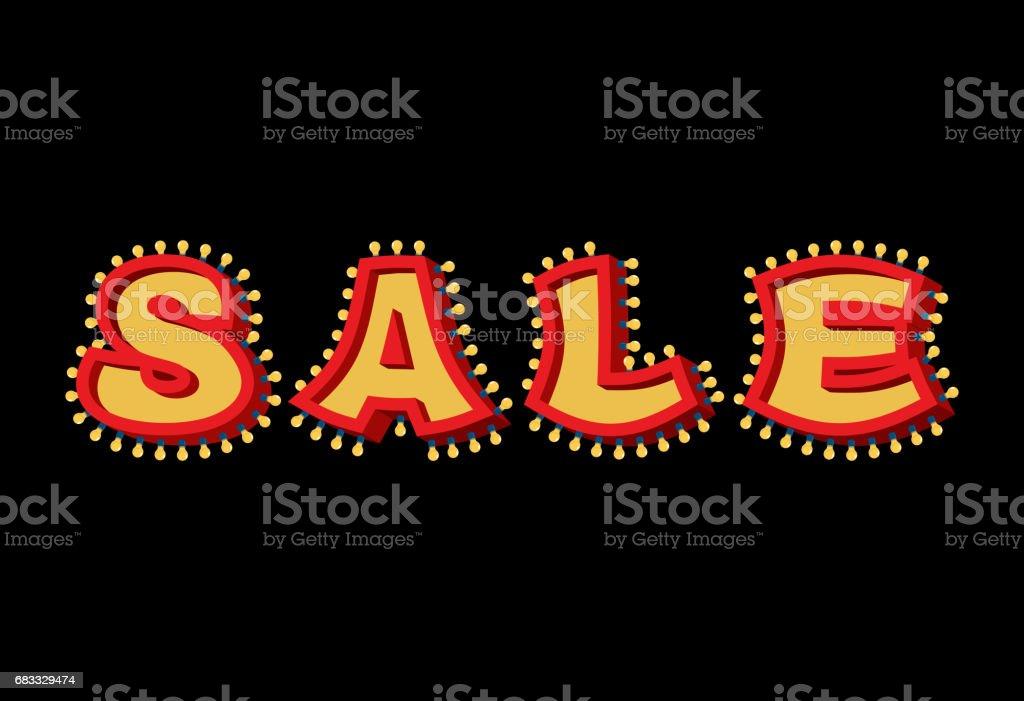 Sale light sign with lamps. discount letter Retro light bulb. Vintage banner Shiny lamps sale light sign with lamps discount letter retro light bulb vintage banner shiny lamps – cliparts vectoriels et plus d'images de 1950 libre de droits