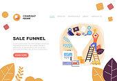 Sale marketing idea funnel concept. Vector flat graphic design illustration