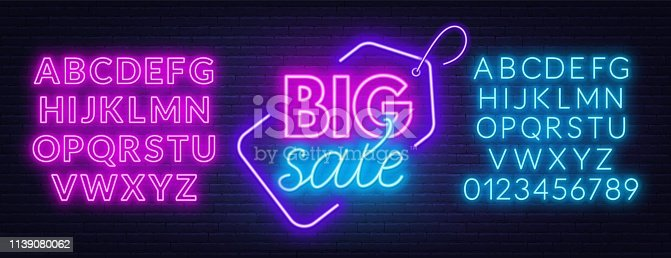 Sale neon sign. Template with fonts. Vector illustration