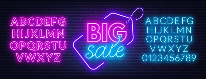 Sale neon sign. Template with fonts.