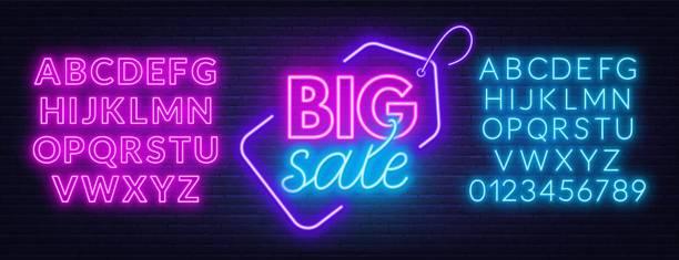 satılık neon işareti. fontlarla şablon. - yazı stock illustrations