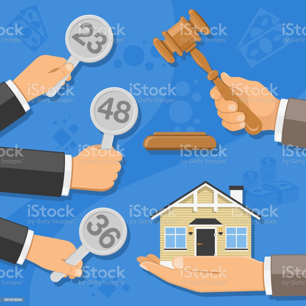 sale of real estate at auction vector art illustration