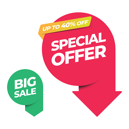 Sale of Special Offers and Discount Arrow Banner Template Vector Design.