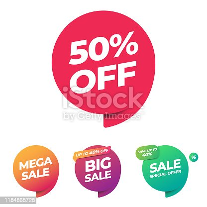 istock Sale of Special Offers and Discount Gradient Banner Template Vector Design. 1184868728