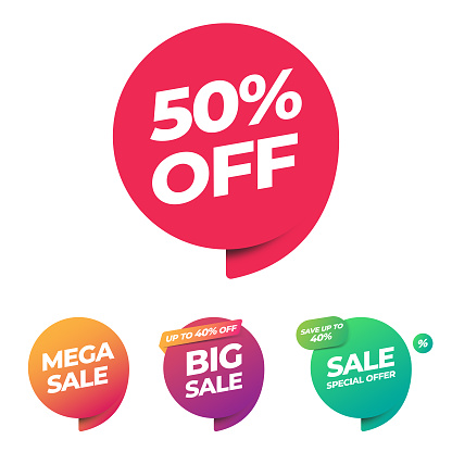 Sale of Special Offers and Discount Gradient Banner Template Vector Design.