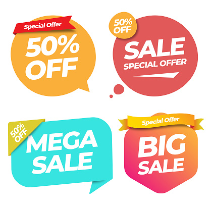Sale of Special Offers and Discount Gradient Label Banner Template Vector Design on White Background.