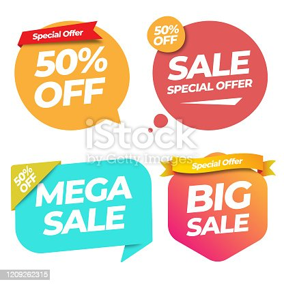 istock Sale of Special Offers and Discount Gradient Label Banner Template Vector Design on White Background. 1209262315