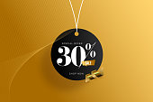 Sale of special offers. Discount with the number. Percentage Sign. Stock illustration with gold colored background.