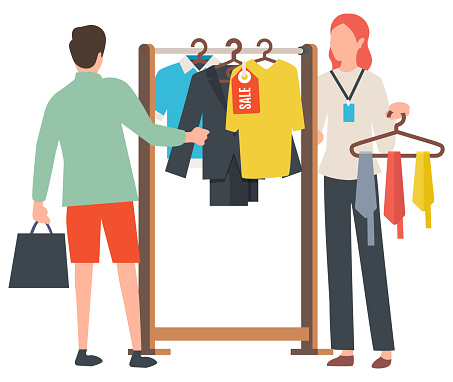 Sale Old Collection, Clothes on Hanger Vector