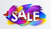 Sale on the background of colorful brushstrokes of oil or acrylic paint with a gradient brush isolated on white background, creative design element, vector illustration EPS10
