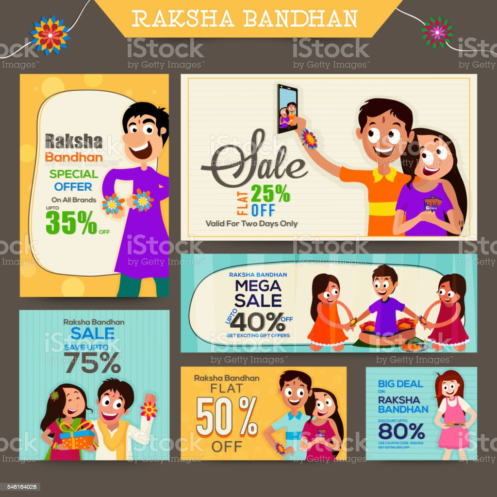 Sale Post and header for Raksha Bandhan. vector art illustration