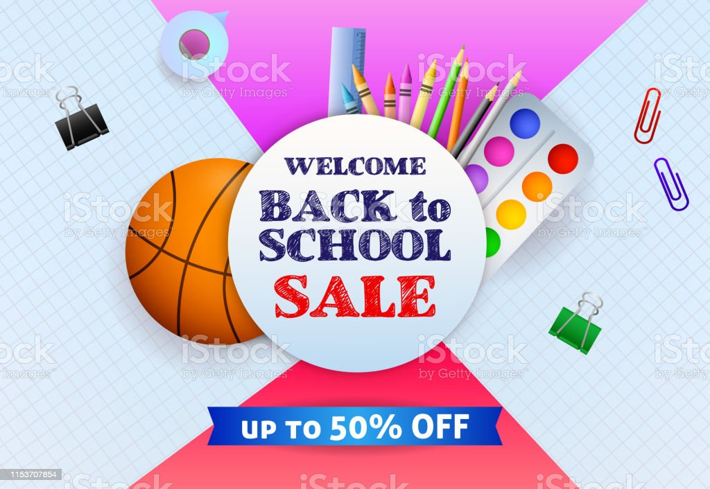 Sale poster design with basketball ball, paints, pencils and...