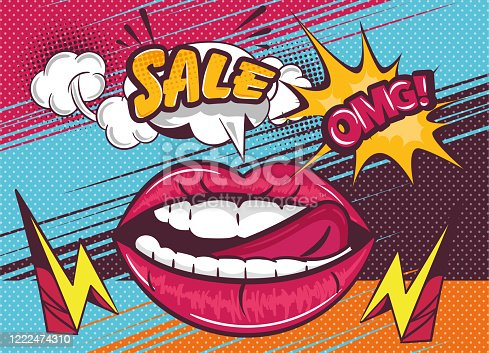 istock OMG Sale poster design with sexy lips and tongue 1222474310