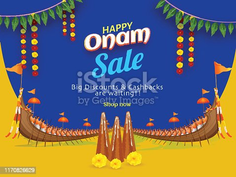 istock Sale poster or banner design with Big discount & cash back and illustration of Thrikkakara Appan Idol for Happy Onam celebration concept. 1170826629