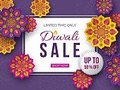 Sale poster or banner for festival of lights - Diwali. Paper cut style of Indian Rangoli. Violet background. Vector illustration.