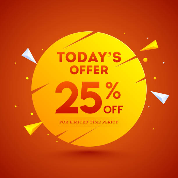 Sale poster or template design with 25% discount offer and abstract geometric elements on orange background. vector art illustration