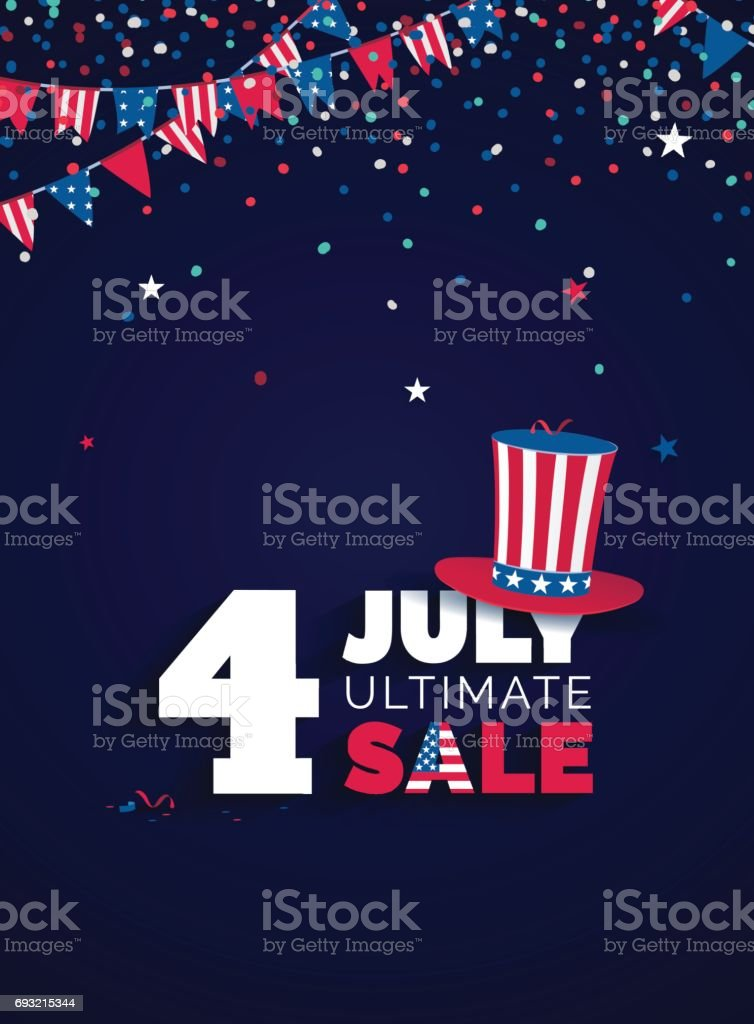 Sale poster with confetti, bunting flags, text and hat. vector art illustration