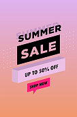 Sale poster with geometric shapes. Super Sale vector illustration. Vector background in retro 80s, 90s memphis style. Unique artistic summer card with bright gradient background