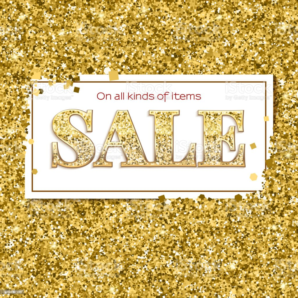 Sale poster with luxury gold sparkle glitter. Poster for ad and...