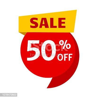 Sale, price tag icon. 50 off. Vector illustration