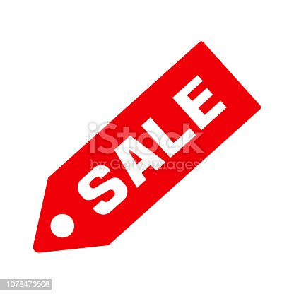 Sale, price tag icon. Red sign isolated on white background. Vector illustration
