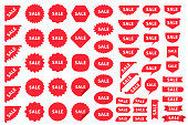 Burst price boxes. Sale, New sticker. Vector.  Discount promo stamps. Circle, corner, cloud badges. Red tag product labels. Set starburst shapes isolated on white background. Flat illustration.