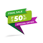 Sale promotion web banner heading design on graphic white background vector for banner or poster. Sale and discount concept