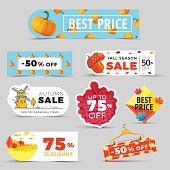 Sale promotion web banners with autumn background. Promo fall season discount label or tag layouts with patterns and rural landscapes. Vector seasonal discount sticker templates design.