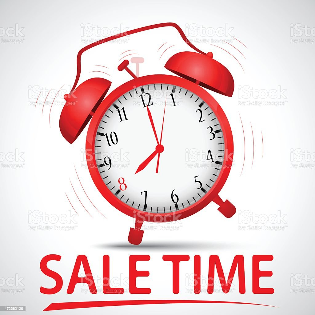 sale promotion with alarm clock royalty-free stock vector art