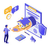 Sale, purchase, rent, mortgage house isometric concept for poster, landing, advertising with home on hand, man invests money in real estate, key, 24h support. isolated vector illustration