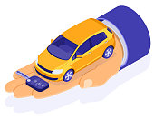 Sale, purchase, rent car isometric concept for landing, advertising with hands dealer hold car and key. Auto rental, carpool, carsharing for city trips. isolated vector illustration