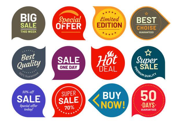 ilustrações, clipart, desenhos animados e ícones de crachás de qualidade de venda. rodada cem por cento garantido distintivo do rótulo. conjunto de ícones do adesivo vector ilustração - selo