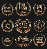 Sale Retro vintage laurel wreath labels