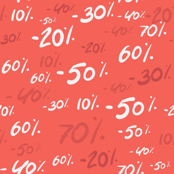 stockillustraties, clipart, cartoons en iconen met koop naadloos patroon met korting percentage 70, 50, 30, 60 20 40 handgeschreven tekst, typografie, kalligrafie, hand-belettering. verkoop achtergrond vector te koop banner, promotie, verkooppakket, papier - non profit