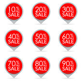 Sale set. 10, 20, 30, 40, 50, 60, 70, 80, 90 percent sale. Discount pointers or markers.  Price off tag icon.  Vector illustration.