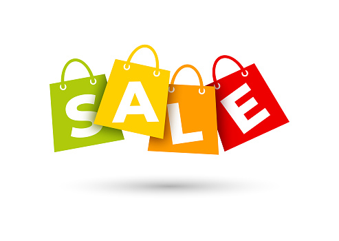 Sale shopping bags on white background
