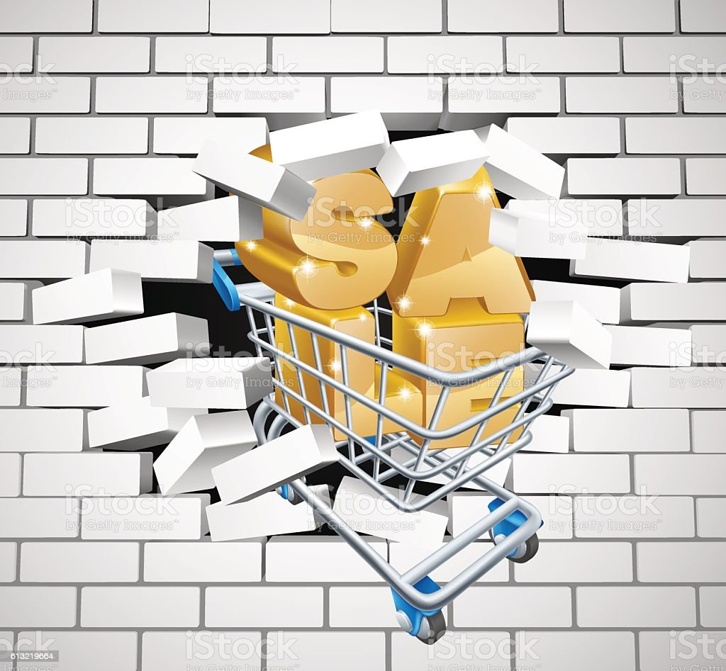 Sale Shopping Cart Smashing Wall Stock Vector Art & More Images of ...