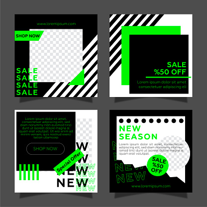 Sale social media posts with photo set. Black and neon green color geometric shapes.