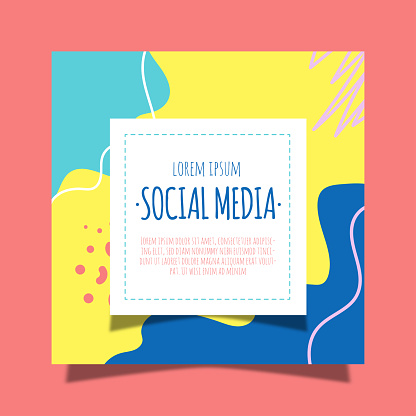 Sale social media posts with photo set. Black and neon pink color geometric shapes.