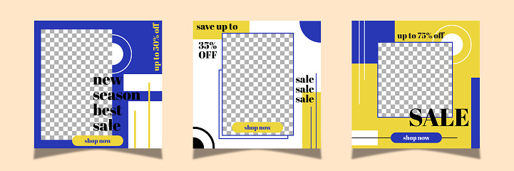 Sale social media stories,post, poster collection.  Blue and yellow color background.