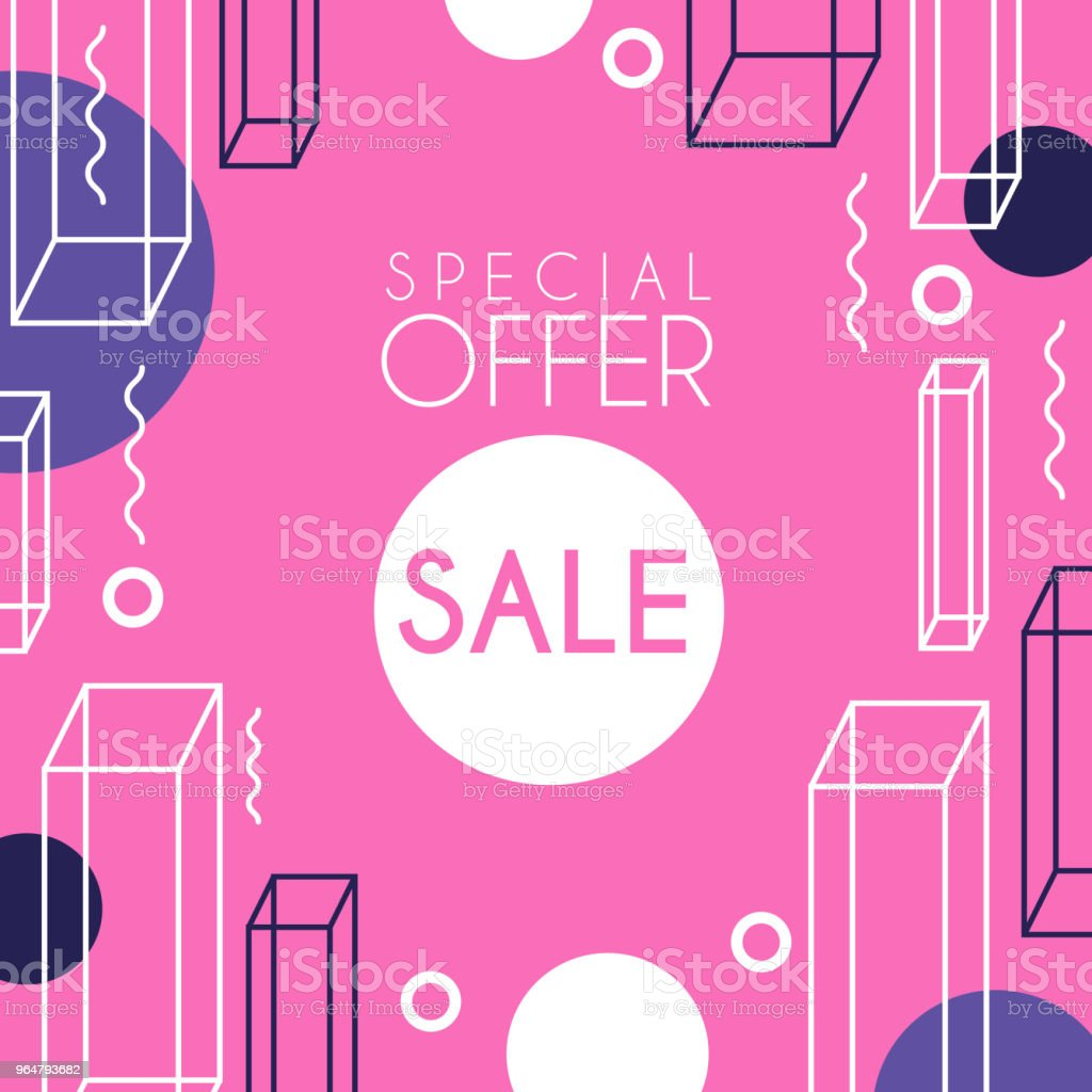 Sale special offer banner template design, seasonal discount, pink advertising poster with geometric shapes vector Illustration royalty-free sale special offer banner template design seasonal discount pink advertising poster with geometric shapes vector illustration stock illustration - download image now