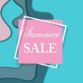 Sale square banner. Paper cut design. Summer sale sticker. Vector illustration.