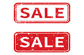 Grunge vector sale stamp on white background