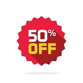 Sale sticker 50 percent off label tag vector badge icon